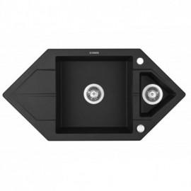 """ZLEW. HEXON GRAFIT METALIK GRANIT 1,5K TRAPEZ Z/O 995x500x190, 3,5"""" + OSPRZĘT SPACE SAVER"""