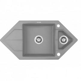 """ZLEW. HEXON SZARY METALIK GRANIT 1,5K TRAPEZ Z/O 995x500x190, 3,5"""" + OSPRZĘT SPACE SAVER"""