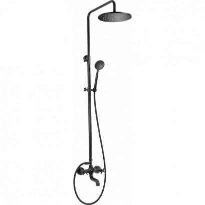 Temisto Deszczownia z baterią wannową - zestaw prysznicowy czarny