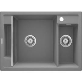 Magnetic Zlewozmywak granitowy magnetyczny 1,5-komorowy bez ociekacza - szary metalik