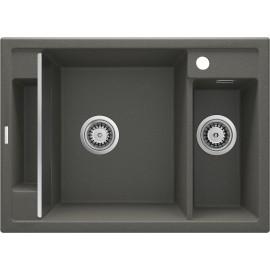 Magnetic Zlewozmywak granitowy magnetyczny 1,5-komorowy bez ociekacza - antracyt