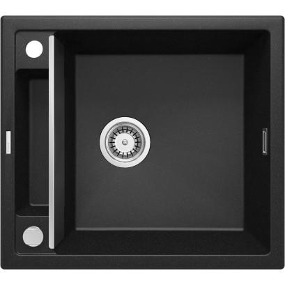 Magnetic Zlewozmywak granitowy magnetyczny 1-komorowy bez ociekacza - grafit metalik