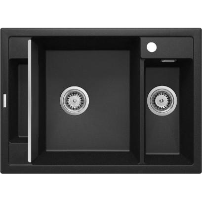 Magnetic Zlewozmywak granitowy magnetyczny 1,5-komorowy bez ociekacza - grafit metalik