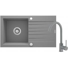 Zorba Komplet zlewozmywak granitowy 1-komorowy z ociekaczem + bateria zlewozmywakowa stojąca